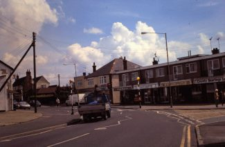 Same view as above but 2015 showing more shops replacing Hart Cottages | Bob Delderfield Collection