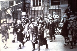 Thundersley Schools gas mask practice 2nd world war | Derek Barber Collection