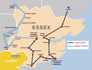 Map of the Olympic Torch Relay through Essex | www.essexlegacy.org/celebrations/torch-relay/