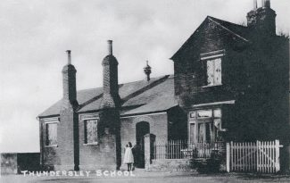 The old Thundersley School, Church Road. Fees were a penny a week. Stan was four when he first went here. The first day the teacher kissed him but on the second day he had the cane.