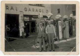Jack Bardell with father-in-law Sid Francis, at Central Garage, Hadleigh | Joyce Bardell Collection