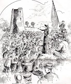 Commissioner Evengeline Booth preaching at Hadleigh Castle 1892