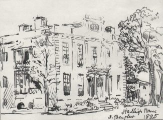 A pen sketch of Hadleigh House in 1885, by C.A. Nicholson