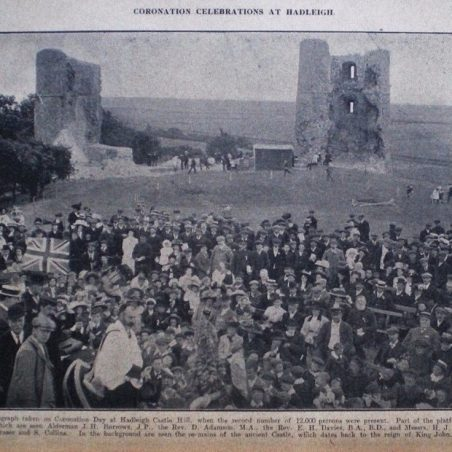 A scene showing the celebrations at the Castle from the year of the Coronation, with many local celebrities present.