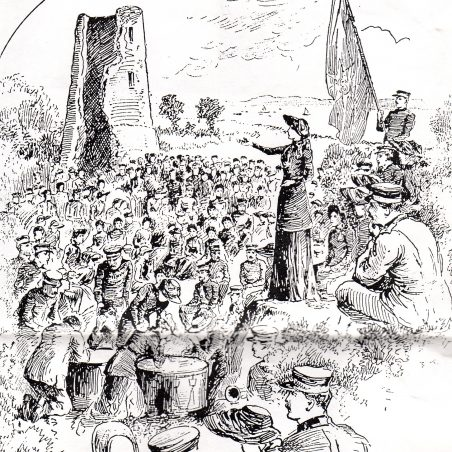The Salvation Army making use of the Castle for an open-air service. This image from an 1892 Salvation Army periodical. | via Graham Cook
