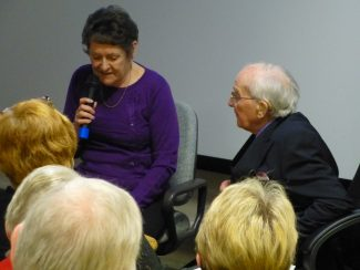 Val expertly interviewing Bob Nichols about his book: Hadleigh Postcard Memories for the Essex Book Festival event on 26 Mar 2014. | Malcolm Brown