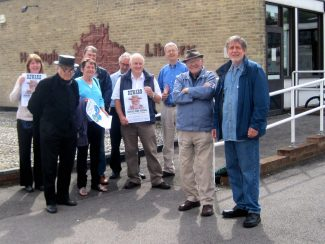 Val and team by famous Hadleigh Library mural; H&TCA launch event 2011.