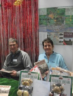 Terry and Val running a stall at a Christmas Fair