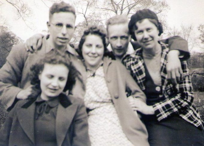 On our ramble Easter 1940.  We had just had our lunch in a field at Downham.  L-R Douglas, Marjorie, Peter, Dorothy with Jean in front of Douglas. | Mary Armour