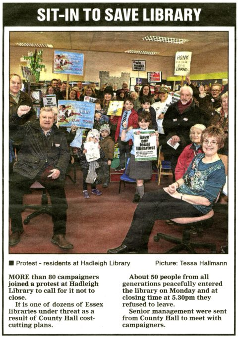 Save our Library demonstration by residents of Hadleigh and beyond | Echo and Tessa Hallmann