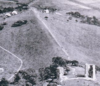 The shepherd's cottage used for D Day training is seen to the right of the path leading from Hadleigh Castle in this 1930s photo