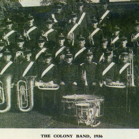 The Hadleigh Colony Band 1936, Douglas Walpole is second from right on trombone. | via Graham Cook