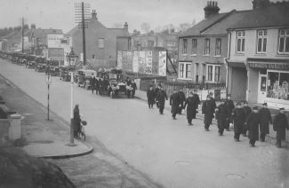 The funeral procession for John H Burrows in 1935