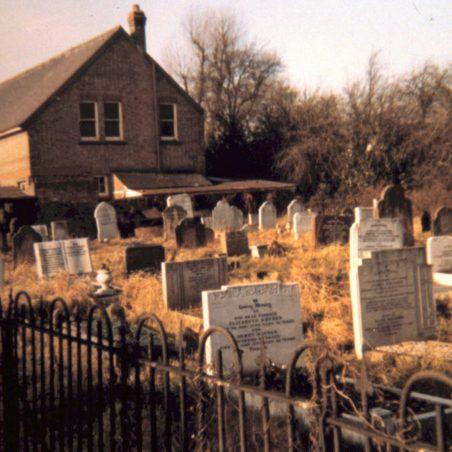 Daws Heath graveyard looking west, c.1960s when original chapel was in Western Road. | Bob Delderfield collection.