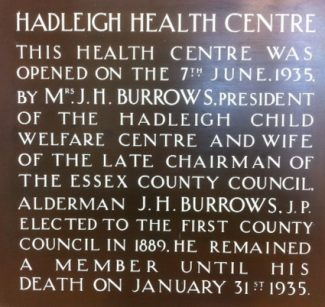 An informative plaque at Hadleigh Clinic.