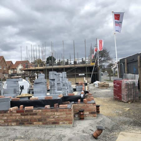 Building under way with properties right on Daws Heath Road. | Graham Cook