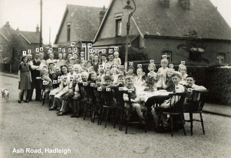 1945 VE Street Party at Ash Road, Hadleigh