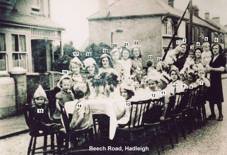 1945 VE Street Party at Beech Road, Hadleigh