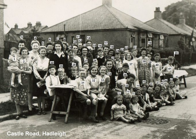 1945 VE Street Party at Castle Road, Hadleigh