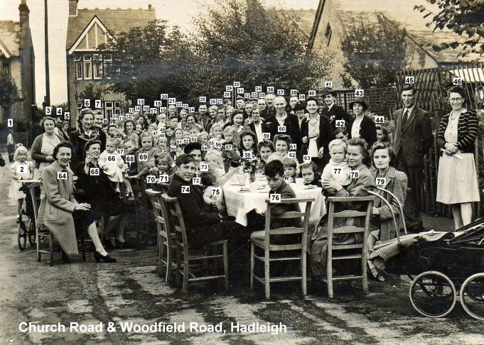 1945 VE Street Party at Church Road & Woodfield Road, Hadleigh