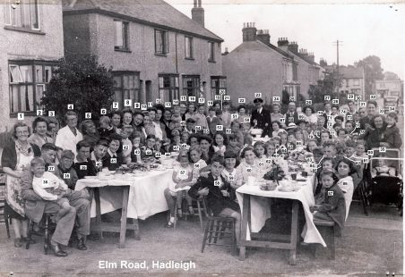 1945 VE Street Party at Elm Road, Hadleigh