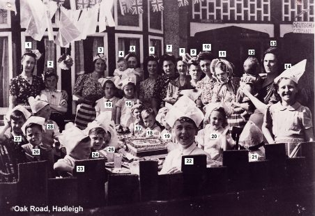 1945 VE Street Party at Oak Road, Hadleigh