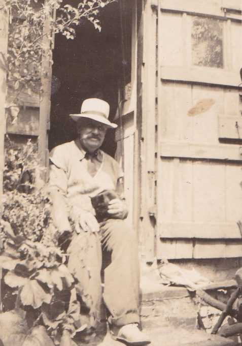 George Morris outside Hillside Cottage.  | via Bob Delderfield