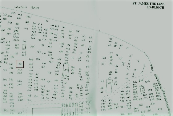 Extract of St James Graveyard Plan from Grave Revelations (Yeaxlee tomb 221 outlined in red) | Hadleigh Heritage