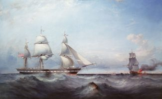 This painting shows the ship 'Roxburgh Castle', of Green's Blackwall line