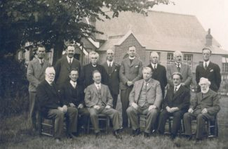 Rev C Lansdown in 1929 with W Carruthers top left, Mr Choppen to his right and and Lawson Carruthers in front of Mr Choppen | M Brown