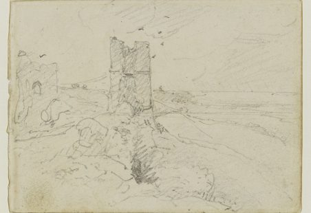 Pencil drawing of Hadleigh Castle.